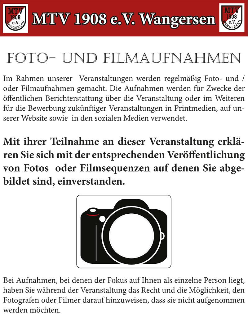 Foto- und Filmaufnahmen